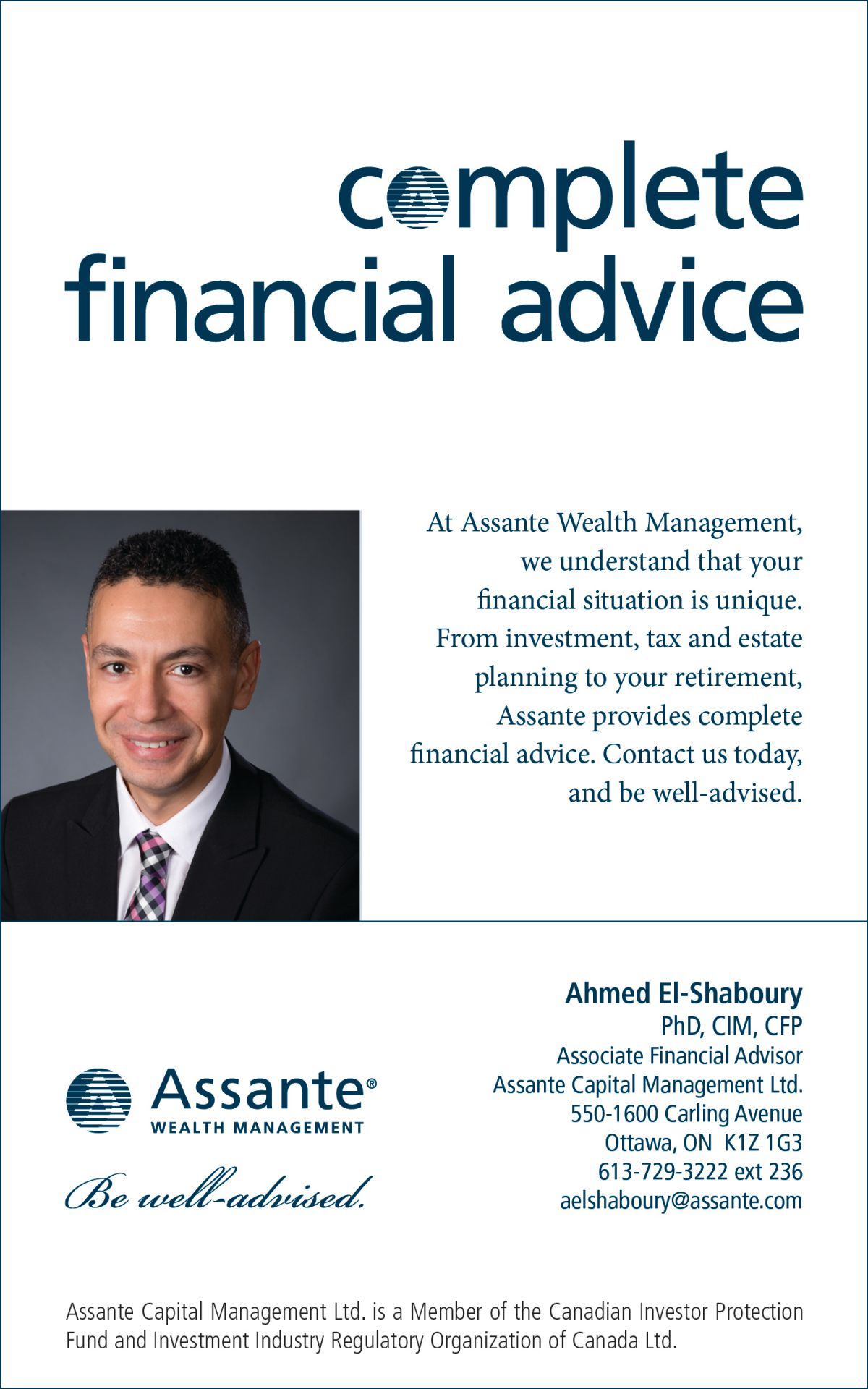 Ahmed El-Shaboury Ph D , CIM®, CFP® - Assante Wealth Management