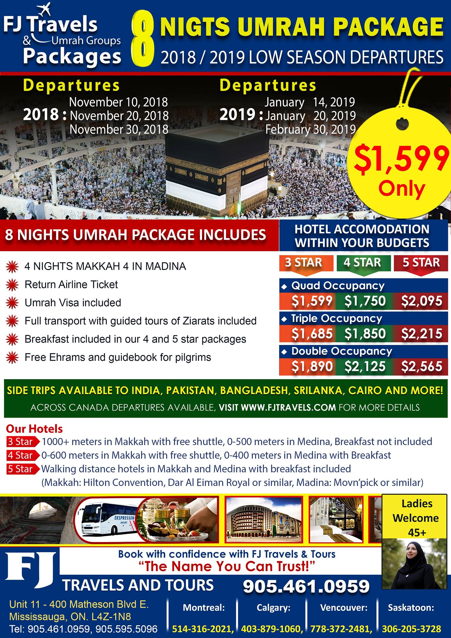 OCT 16 FJ TRAVELS 08 NIGHTS LOW SEASON 2018 2019 UMRAH PACAKGE WITH OMAN AIR