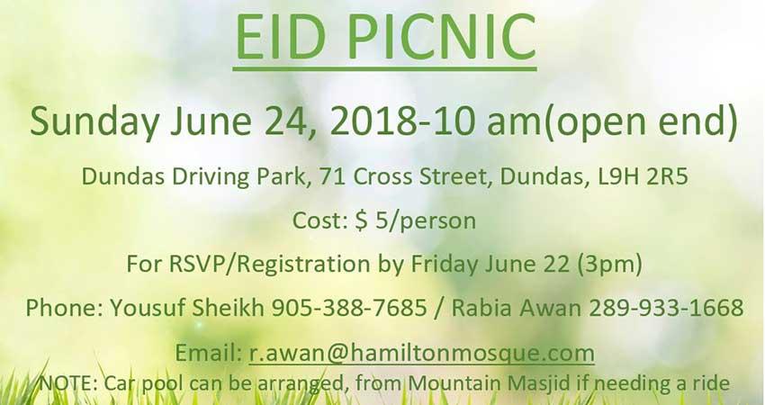 Muslim Association of Hamilton Seniors Committee Eid Picnic