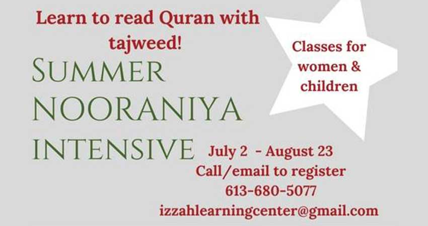 Izzah Learning Center for Women Summer Nooraniya Intensive Registration