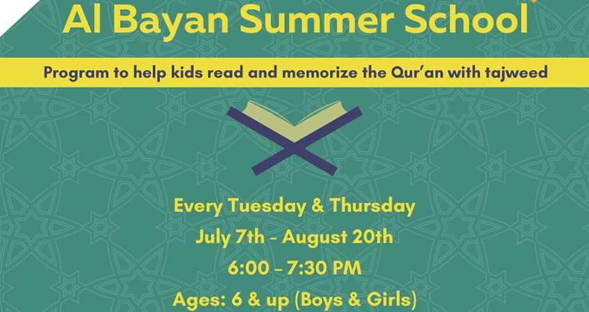 ONLINE Assunnah Muslim Association Al Bayan School Summer Program Stars July 7 Registration Required