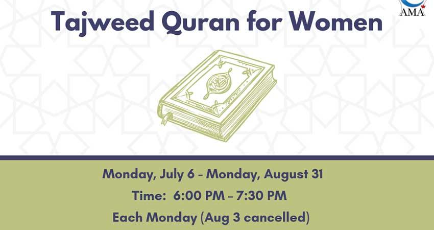 ONLINE Assunnah Muslim Association Tajweed and Quran Program for Women Starts July 6 Registration Required