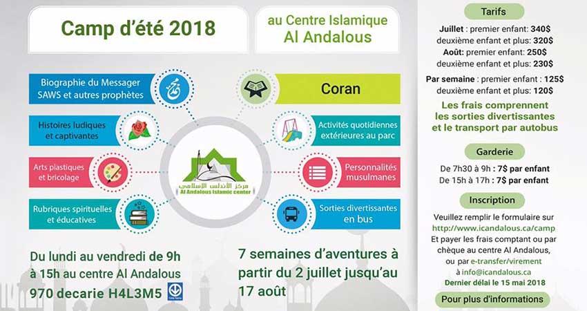Centre Islamique Al-Andalous Camp d'Été commence le 2 juillet