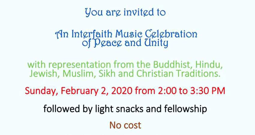 An Interfaith Music Celebration of Peace and Unity with Audrey Saparno