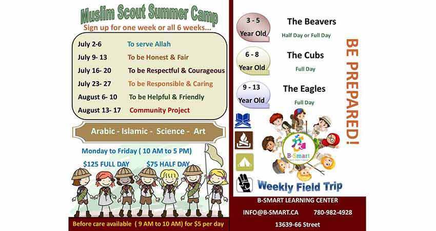 B-Smart Learning Center Muslim Scout Summer Camp Registration
