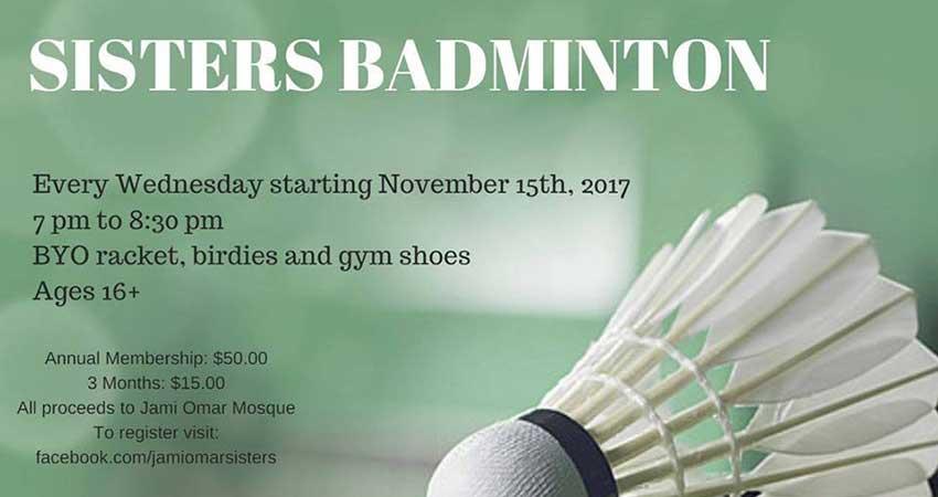 Jami Omar Sisters Badminton Starts November 15