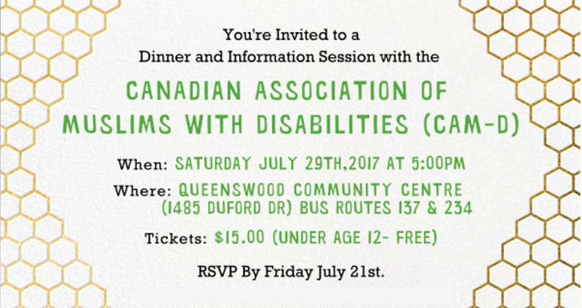 Canadian Association of Muslims with Disabilities Sisters Only Dinner and Info Session (Partially in Urdu)