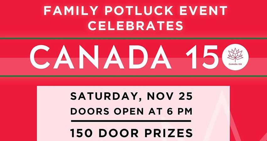 Canada 150 Birthday Celebration- November Potluck Event