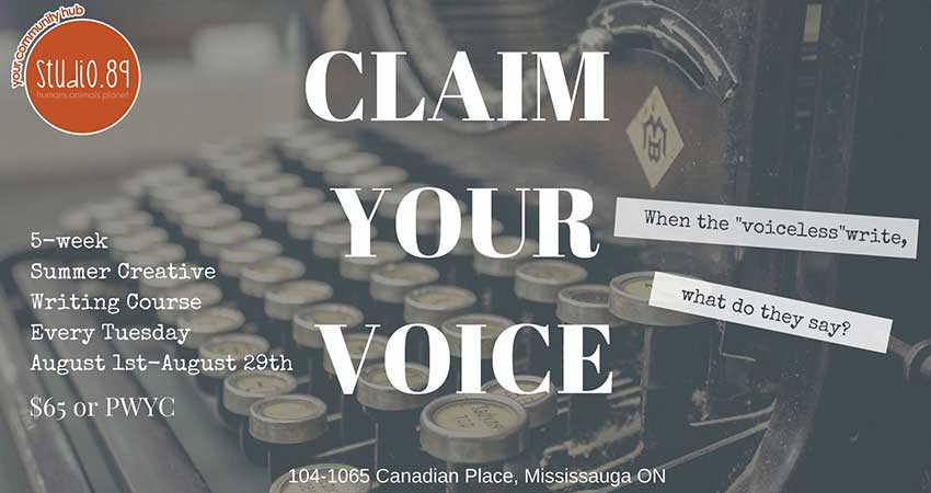 Claim Your Voice Summer Creative Writing Course with Ishara Deen Starts August 1