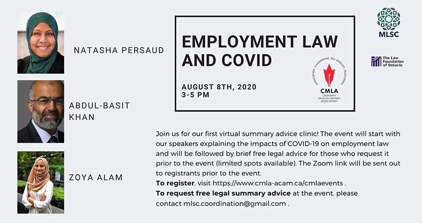 ONLINE Canadian Muslim Lawyers Association Employment Law and COVID
