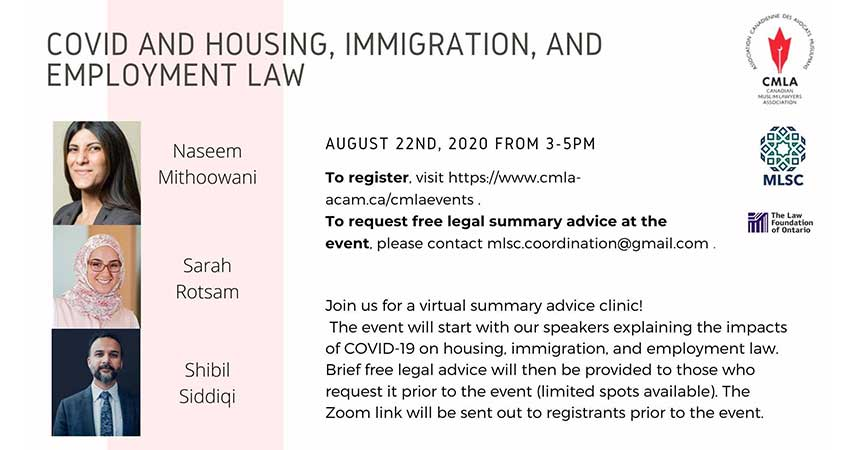 ONLINE Canadian Muslim Lawyers Association COVID and Housing  Immigration and Employment Law