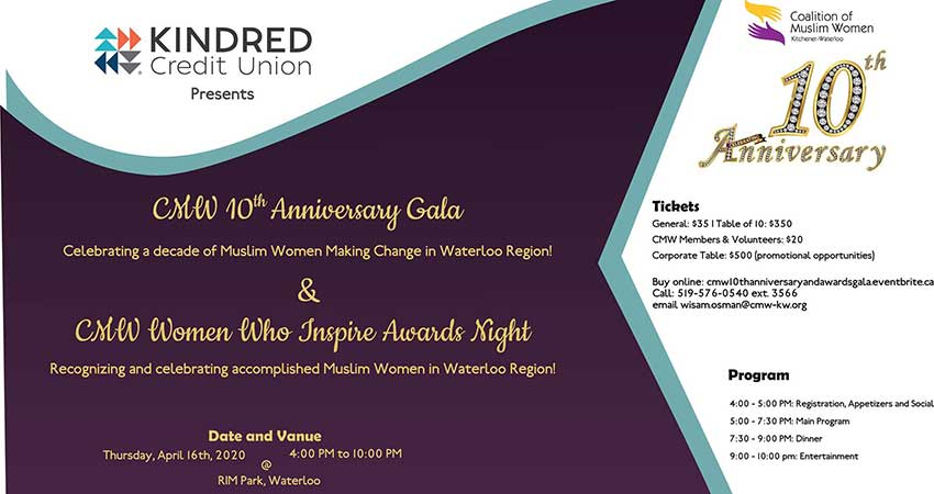 Coalition of Muslim Women KW 10th Anniversary Gala and Awards Night