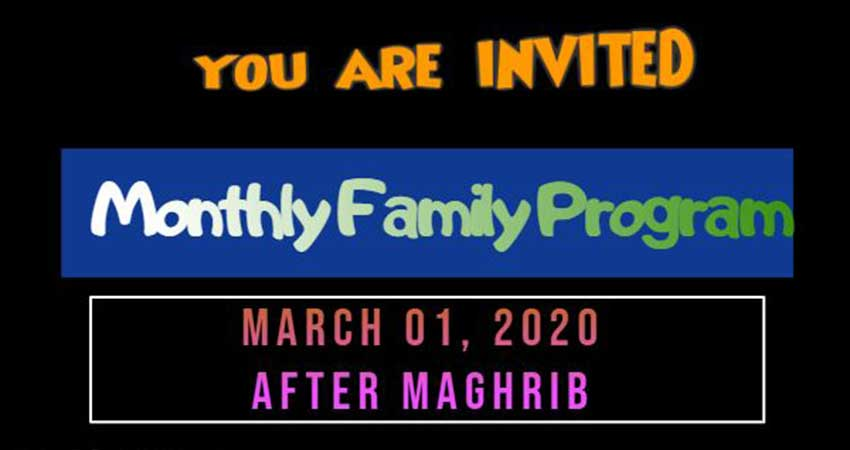 Darul Falah Islamic Center Monthly Family Halaqa Program