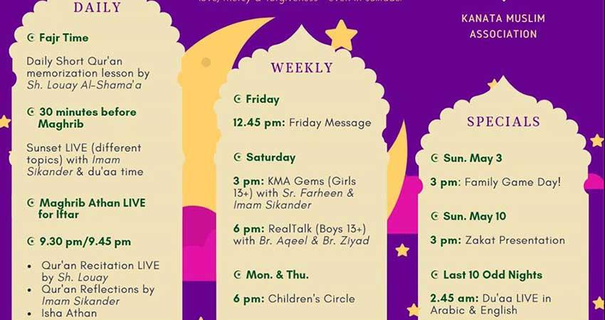 ONLINE Kanata Muslim Association Ramadan Programs