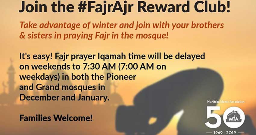 Manitoba Islamic Association Make this Winter Count with #FajrAjr