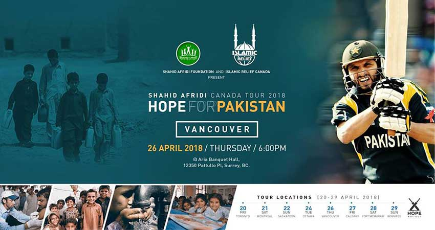 Islamic Relief Canada Shahid Afridi in Vancouver · Hope for Pakistan Fundraising Tour