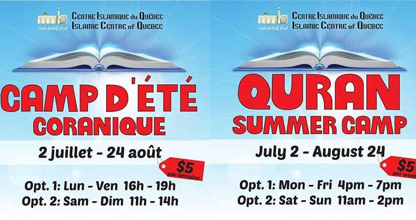Islamic Center of Quebec - ICQ Montreal Camp D'été Coranique | Quran Summer Camp Registration