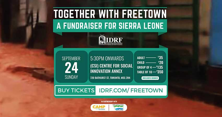 IDRF Together with Freetown - A Fundraiser for Sierra Leone