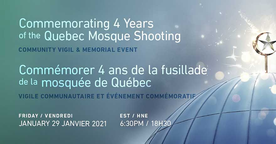 ONLINE Centre culturel islamique de Quebec January 29th Vigil and Webinar