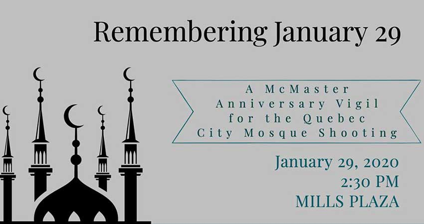 Remembering January 29: A McMaster University Anniversary Vigil for the Quebec Mosque Shooting