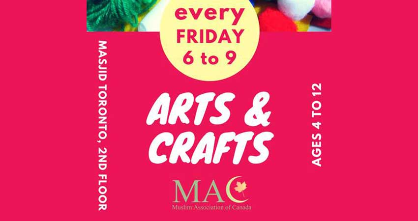 Arts & Crafts for Kids Fridays at Masjid Toronto
