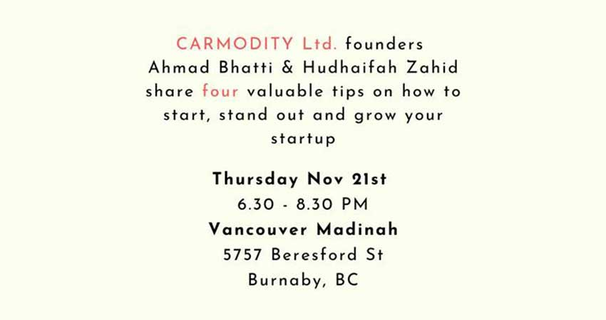 Vancouver Madinah Meetup: Thinking of a startup? Let's Drive