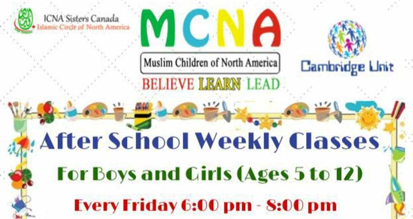 MCNA Cambridge Islamic Studies Classes for Ages 5 to 12 Start October 20