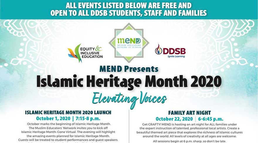 ONLINE Muslim Educators Network of Durham Islamic History Month Taking Care of Mind and Soul During COVID
