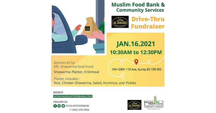 Muslim Food Bank and Community Services Drive Thru Fundraiser with Mr. Shawarma
