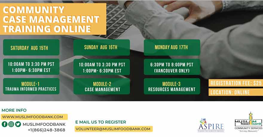 ONLINE Muslim Food Bank and Community Services Community Case Management Training (Register ASAP)