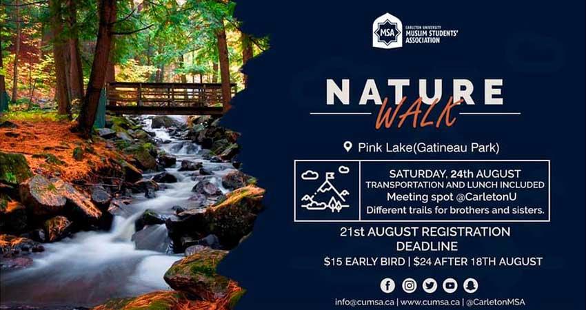 Carleton University Muslim Students Association CUMSA Nature Walk at Pink Lake