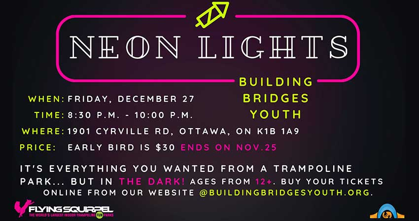 Building Bridges Youth Neon Lights Trip to Trampoline Park