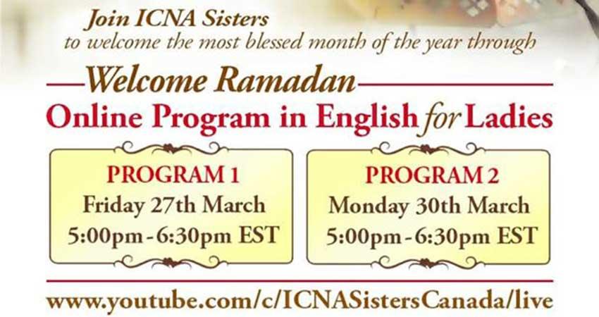 ONLINE ICNA Sisters Canada Welcome Ramadan English Program