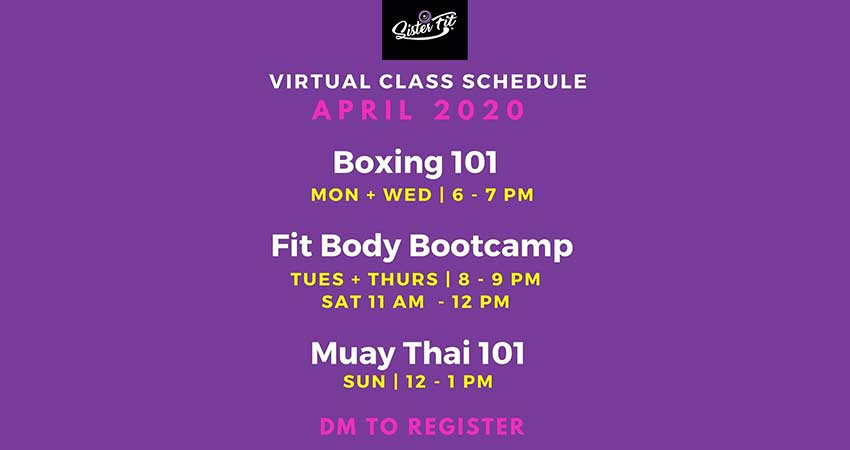 ONLINE Sister Fit Weekly Virtual Classes Boxing Muay Thai Fit Body Bootcamp