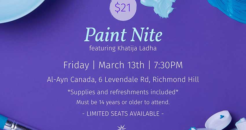Al-Ayn Social Care Foundation Canada Paint Nite with Khatija Ladha
