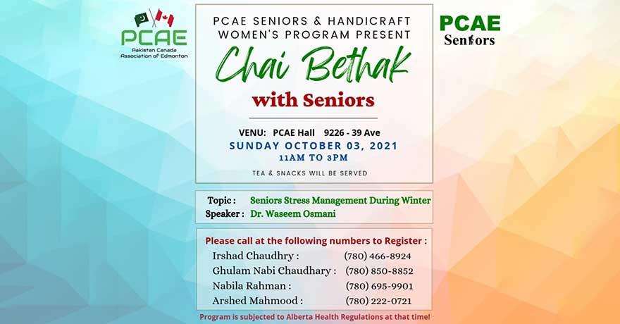 Pakistan Canada Association of Edmonton (PCAE) Seniors Chai Bethak Seniors Stress Management During Winter