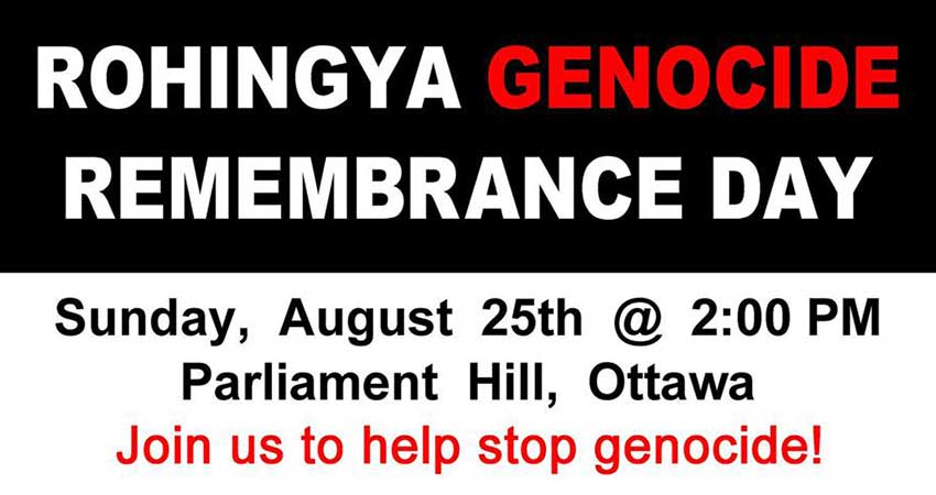 Rohingya Genocide Remembrance Day Ottawa