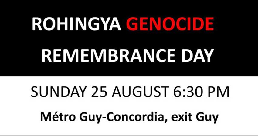 Rohingya Genocide Remembrance Day Montreal