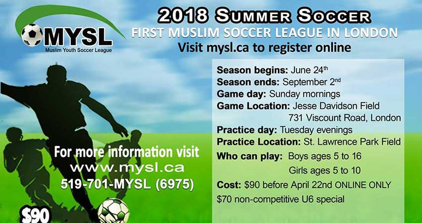 2018 Summer Muslim Soccer League in London Registration