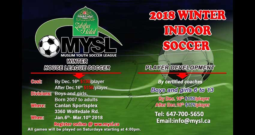 Muslim Youth Soccer League - MYSL Mississauga Winter Indoor Soccer REGISTER NOW