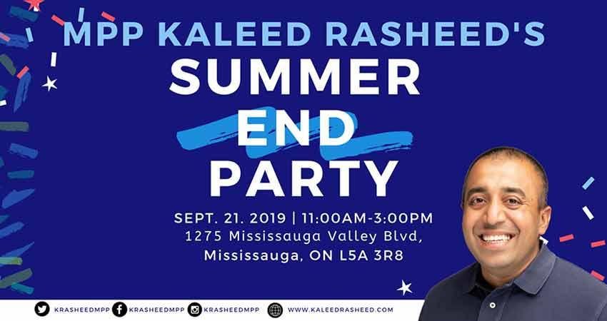 MPP Kaleed Rasheed's Summer End Party