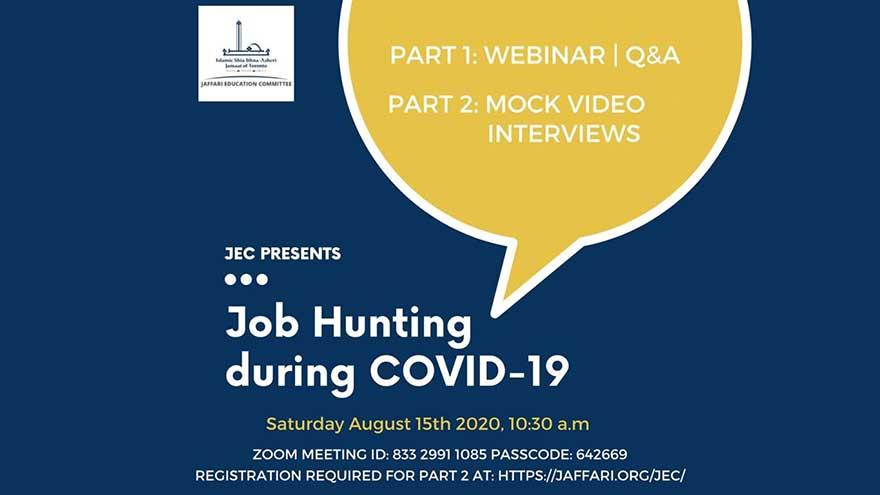 ONLINE Jaffari Centre Job Hunting during COVID 19