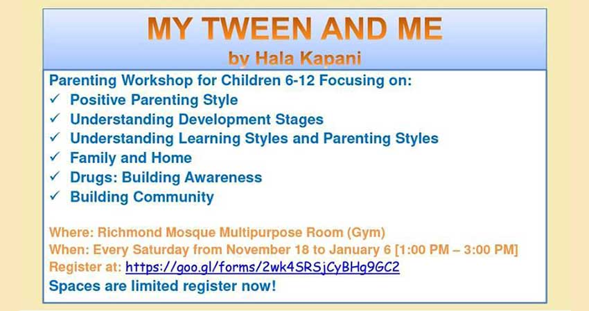 My Tween and Me: BCMA Richmond Branch Weekly Parenting Workshops