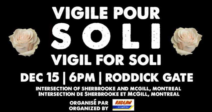 A Vigil for Soleiman Faqiri: Montreal