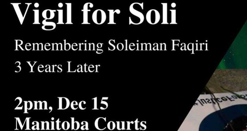 Winnipeg Vigil For Soleiman Faqiri