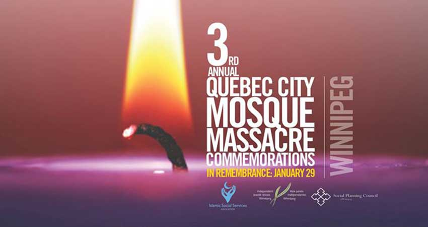 Third Annual Quebec City Mosque Shooting Commemoration in Winnipeg