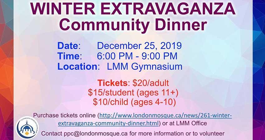 London Muslim Mosque Winter Extravaganza Community Dinner