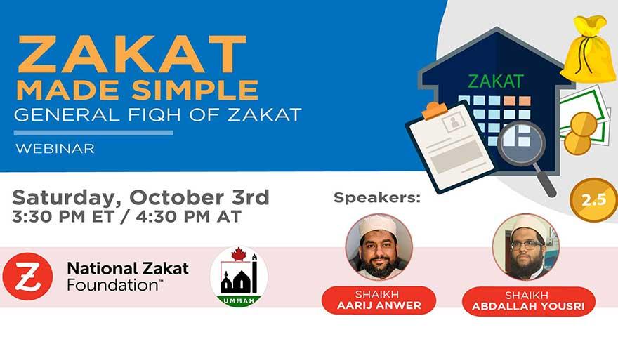 ONLINE National Zakat Association Zakat Made Simple: General Fiqh of Zakat Webinar