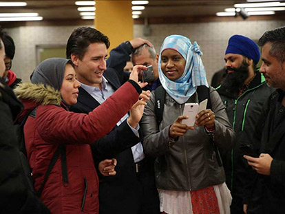 Newly elected Prime Minister Justin Trudeau with constituents