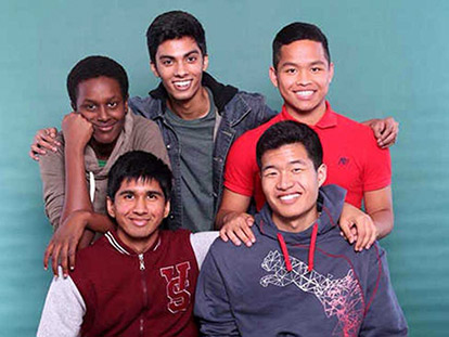 Khadar Mousa, Tausif Ahmed , Haua Hauthanglian, Adib Hussein,and  Adam Wang  participate in Bell High School's Islamic Students Association (BISA)'s Eid Dinner